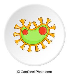 Virus icon, cartoon style