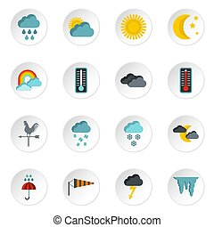 Weather icons set, flat style - Weather icons set. Flat...