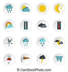 Weather icons set, flat style - Weather icons set. Flat...
