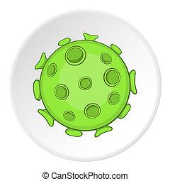 AIDS virus icon, cartoon style