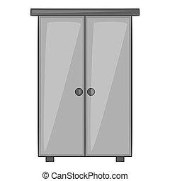 Wardrobe icon, gray monochrome style - Wardrobe icon. Gray...