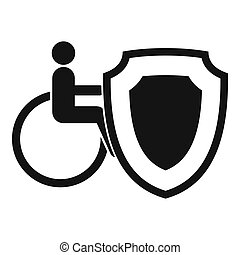 Wheelchair and safety shield icon, simple style - Wheelchair...