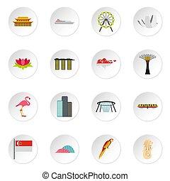 Singapore icons set, flat style - Singapore icons set. Flat...
