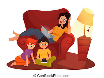 girl is watching online movie. cartoon illustration on white background Young mother working at home