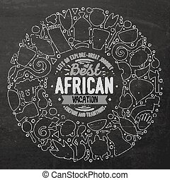 Set of Africa cartoon doodle objects round frame -...