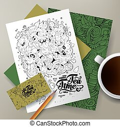 Cartoon doodles Tea corporate identity set - Cartoon cute...