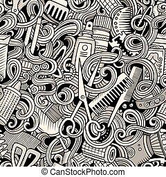 Cartoon cute doodles hairdressing salon seamless pattern -...