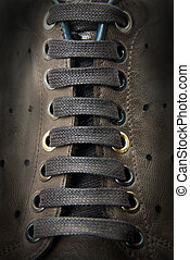 primer plano, Cordones, marrón, botas