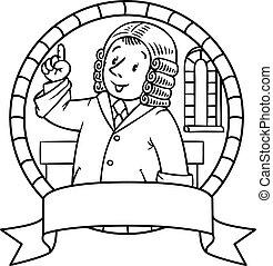 Funny judge understand thumbs up. Emblem - Emblem or...