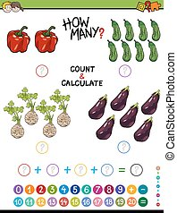 Cartoon Illustration of Educational Mathematical Counting and Addition Activity for Children