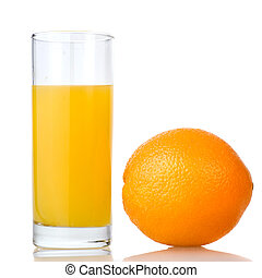orange juice and orange isolated on white
