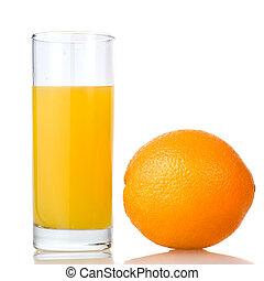 laranja, suco, laranja, isolado, branca