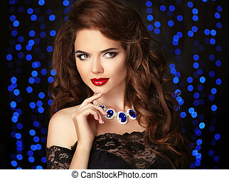 Young beautiful brunette woman portrait. Red lips makeup....