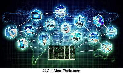 概念, 技術, 網際網路, 服務器