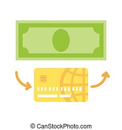 Credit card with cash flat icon - credit card and cash....