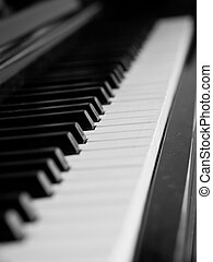 Piano keys of a very well loved and often played piano in...