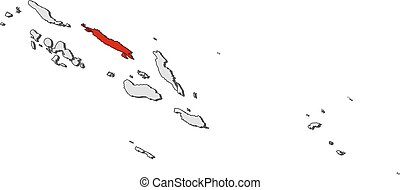 Map - Solomon Islands, Isabel - Map of Solomon Islands with...