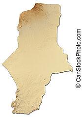 Relief map - South Darfur (Sudan) - 3D-Rendering