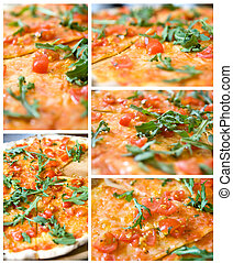 set from 5 full size photos of classic italian pizza