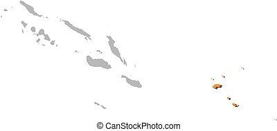 Map - Solomon Islands, Temotu - Map of Solomon Islands with...