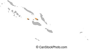 Map - Solomon Islands, Central - Map of Solomon Islands with...