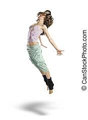 Saltar, joven, bailarín, aislado, blanco, Plano de...