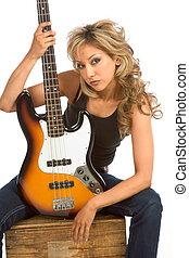 Portrait of Guitar girl - Portrait of Girl sitting on the...
