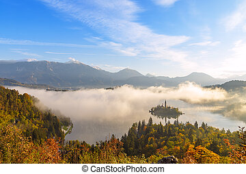 Sunrise at lake Bled from Ojstrica viewpoint, Slovenia,...