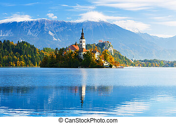 Bled with lake, Slovenia - Bled with lake, island and...