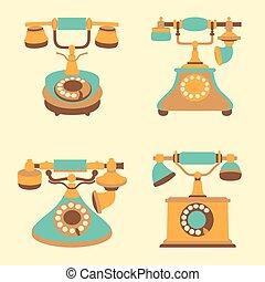 Set of vector retro vintage color phones