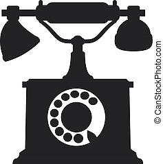 Vector silhouette of antique retro telephone