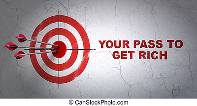 Finance concept: target and Your Pass to Get Rich on wall...