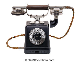 Antique black telephone - Isolated objects: one antique...