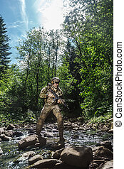 United states army ranger in the mountains