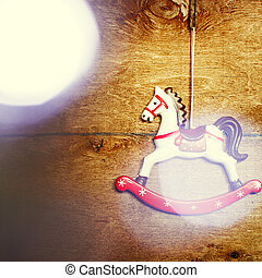 Vintage toy horse with Christmas lights