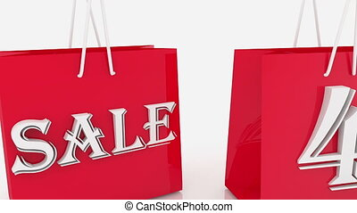 Moving shopping bags with inscription 40 percents