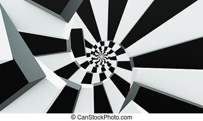 Rotating stairs in black and white colors