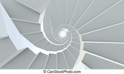 Rotating stairs in white color