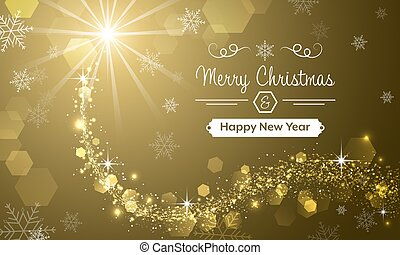 Merry Christmas and Happy New Year greeting card with...