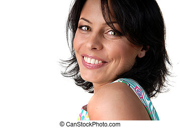 portrait of happy smiling woman on white