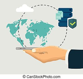 Virtual cloud data process with hand holding the phone