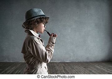 Sherlock - Little boy with a smoking pipe