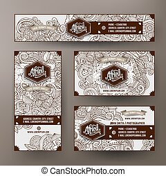 Corporate Identity set with doodles hand drawn Africa theme...