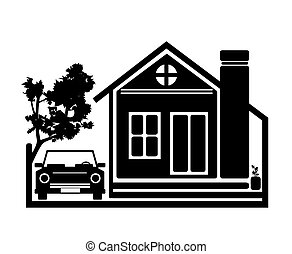 Beauty Home Icon Vector Design - Beauty Home With Car...