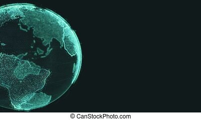 Earth rotating loop of rotating glowing dots stylised world...