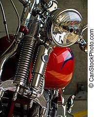 Stationary Motorcycle Details taken when Parked Under Cover