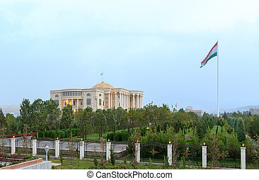 Palais des Nations and flagpole with a flag. Dushanbe,...