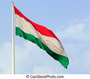 Flag of the Republic of Tajikistan. Dushanbe