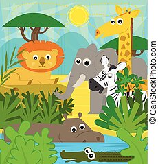 Safari Animals - Cute cartoon baby animals at the safari....