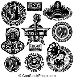 set of retro badges templates gramofon, microphones,...